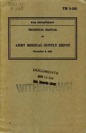 Primary view of object titled 'Army medical supply depot.'.