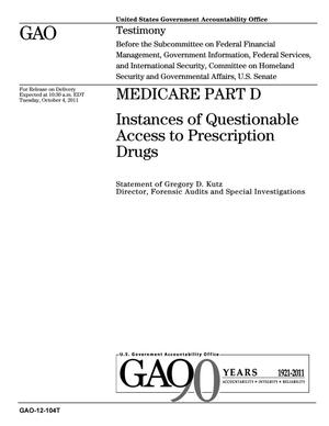 Primary view of object titled 'Medicare Part D: Instances of Questionable Access to Prescription Drugs'.