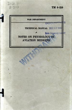 Primary view of object titled 'Notes on physiology in aviation medicine.'.
