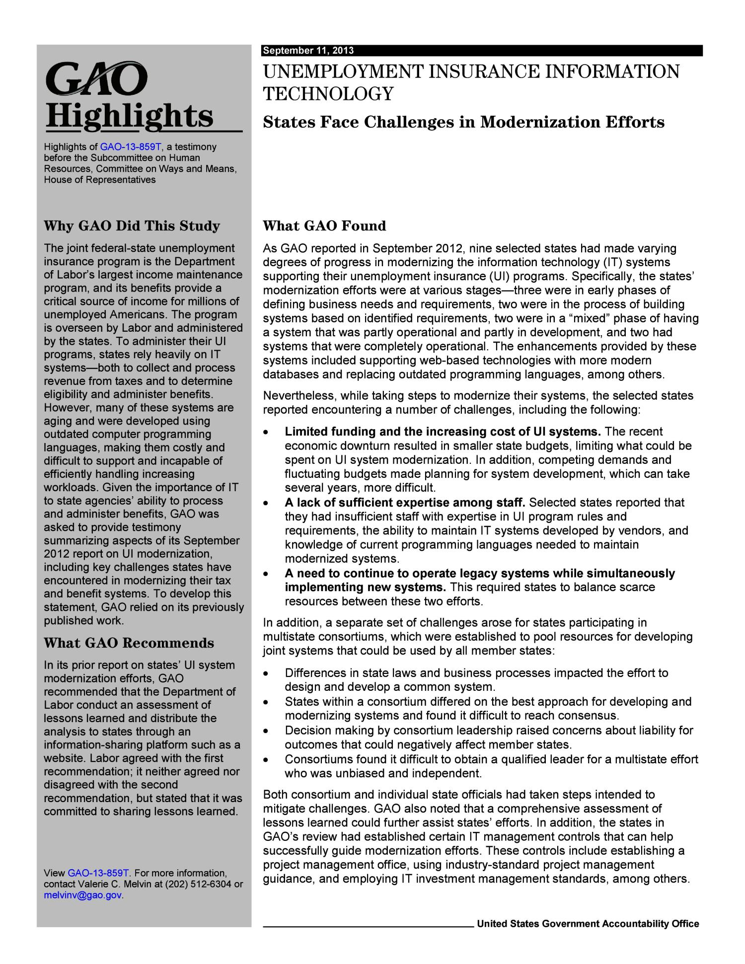 Unemployment Insurance Information Technology: States Face Challenges in Modernization Efforts                                                                                                      [Sequence #]: 2 of 12