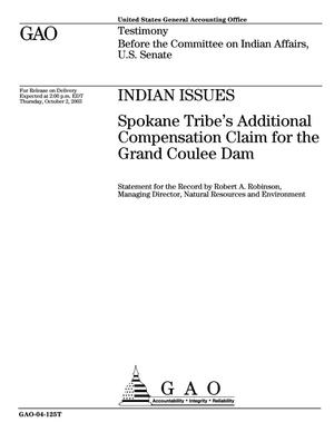 Primary view of object titled 'Indian Issues: Spokane Tribe's Additional Compensation Claim for the Grand Coulee Dam'.