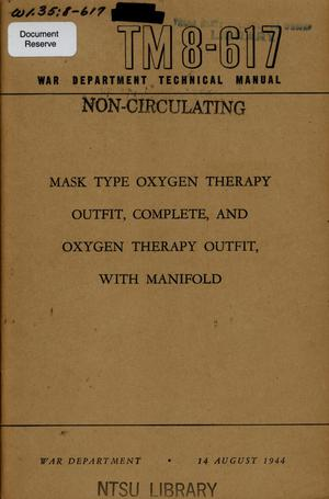 Primary view of object titled 'Mask type oxygen therapy outfit, complete, and oxygen therapy outfit, with manifold.'.