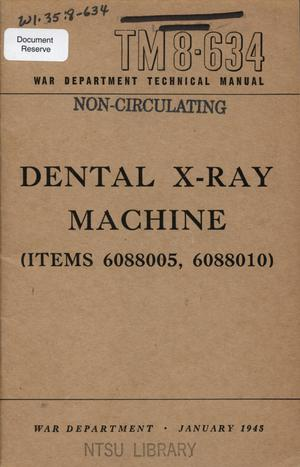 Primary view of object titled 'Dental X-ray machine (items 6088005, 6088010)'.