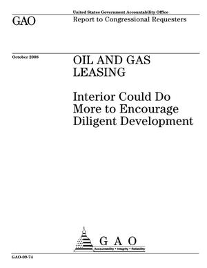 Primary view of object titled 'Oil and Gas Leasing: Interior Could Do More to Encourage Diligent Development'.