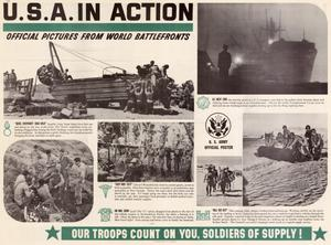 Primary view of object titled 'U.S.A. in action : official pictures from world battlefronts.'.