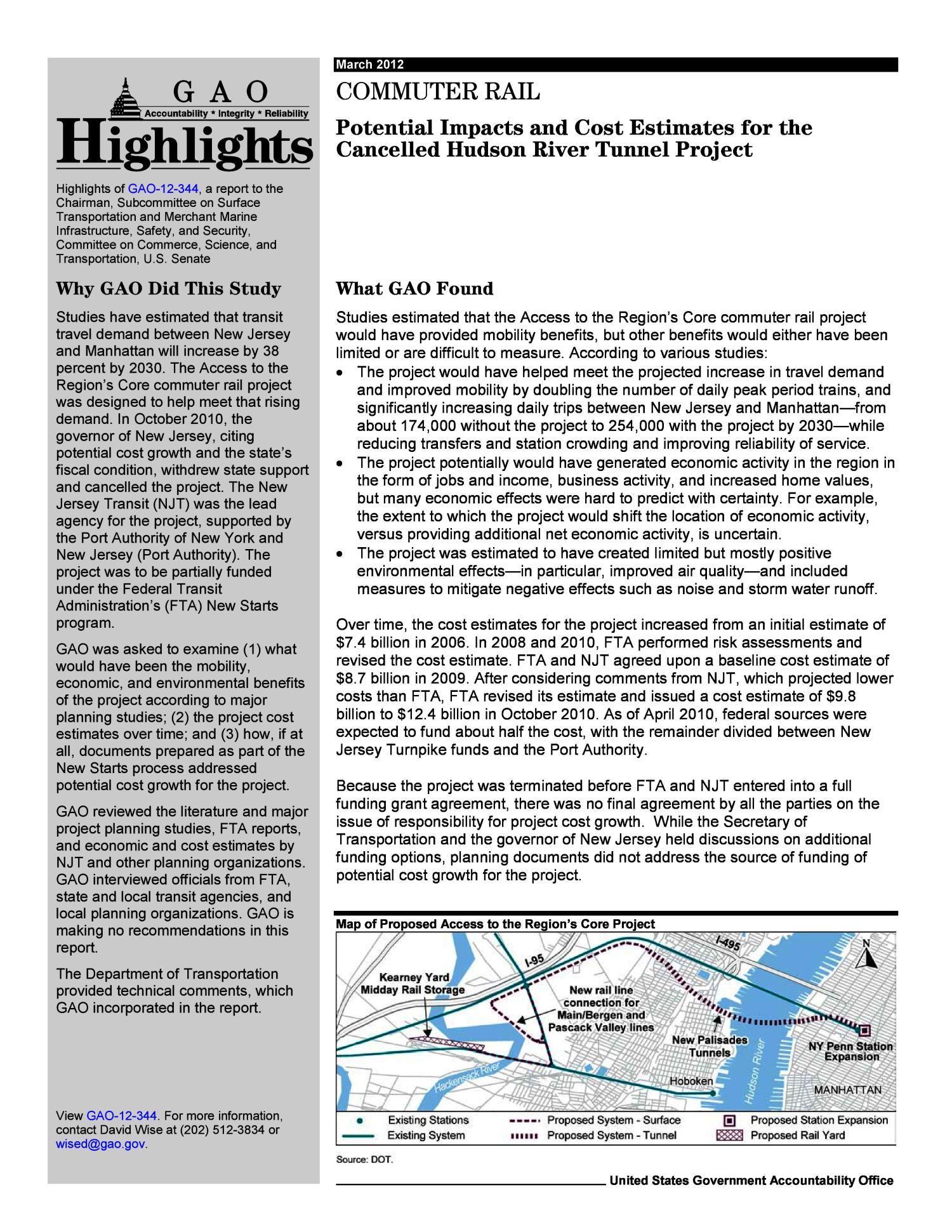 Commuter Rail: Potential Impacts and Cost Estimates for the Cancelled Hudson River Tunnel Project                                                                                                      [Sequence #]: 2 of 29
