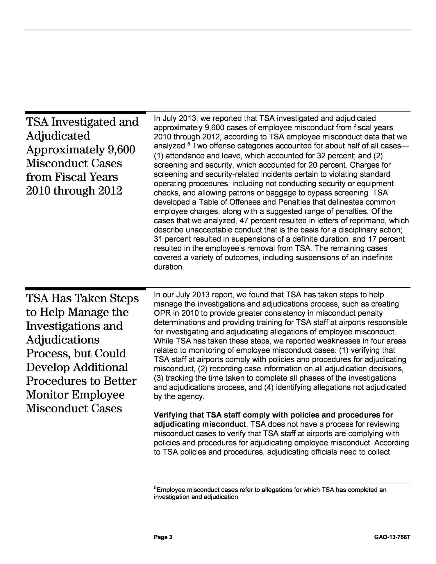 Transportation Security: TSA Could Strengthen Oversight of Allegations of Employee Misconduct                                                                                                      [Sequence #]: 4 of 9