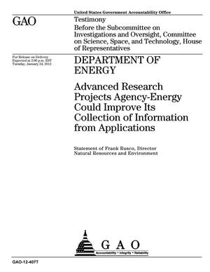 Primary view of object titled 'Department of Energy: Advanced Research Projects Agency-Energy Could Improve Its Collection of Information from Applications'.