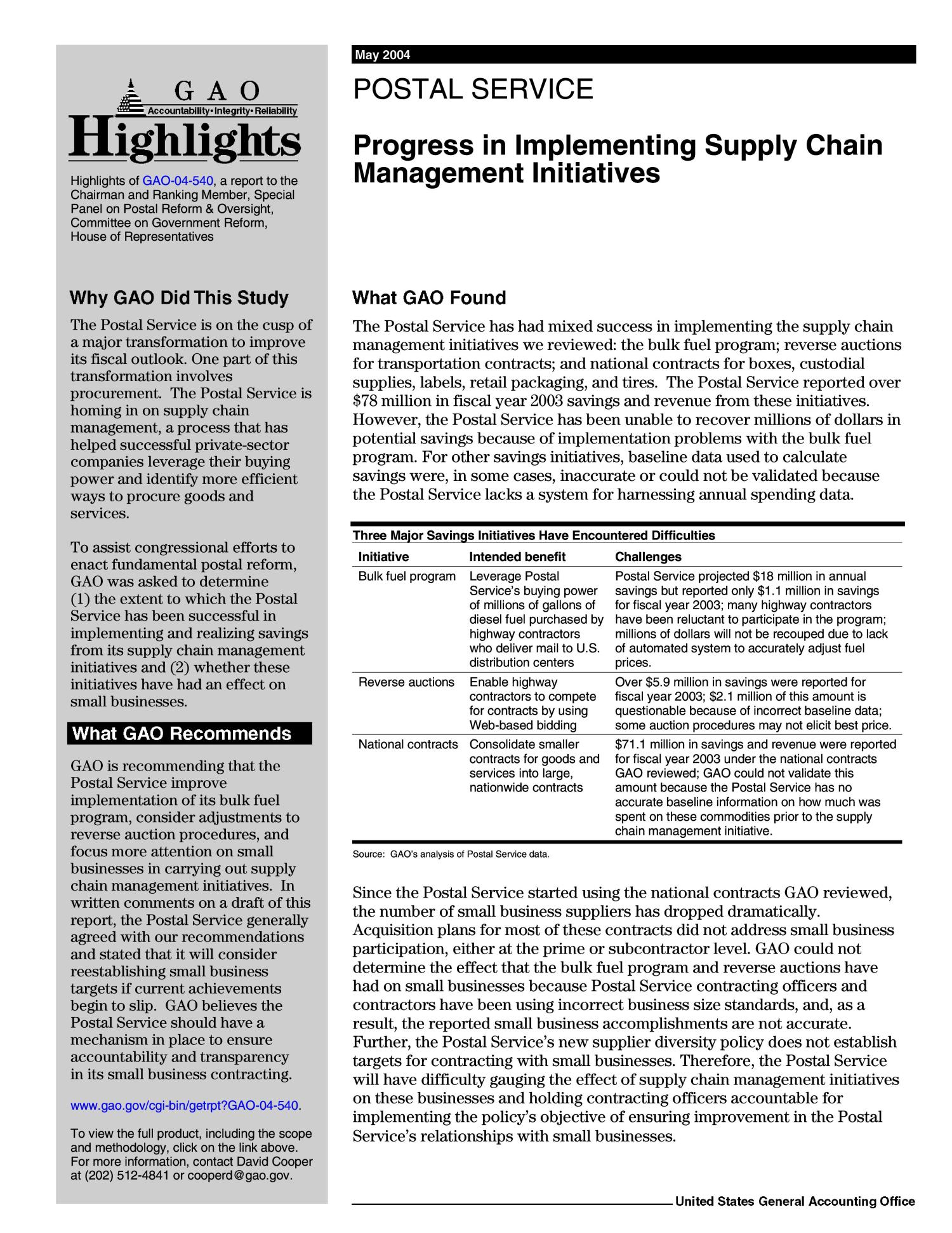 Postal Service: Progress in Implementing Supply Chain Management Initiatives                                                                                                      [Sequence #]: 2 of 31