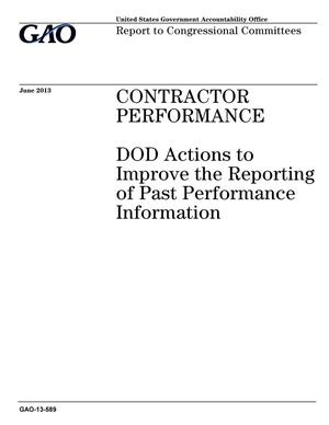 Primary view of object titled 'Contractor Performance: DOD Actions to Improve the Reporting of Past Performance Information'.