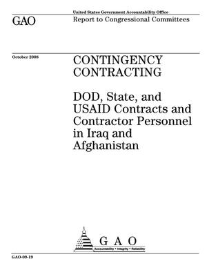 Primary view of object titled 'Contingency Contracting: DOD, State, and USAID Contracts and Contractor Personnel in Iraq and Afghanistan'.