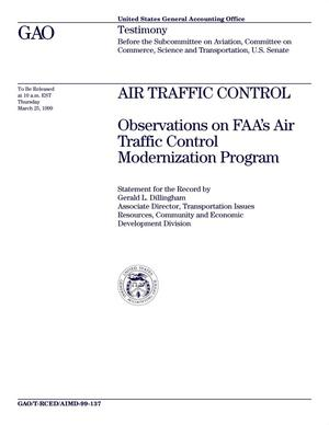 Primary view of object titled 'Air Traffic Control: Observations on FAA's Air Traffic Control Modernization Program'.