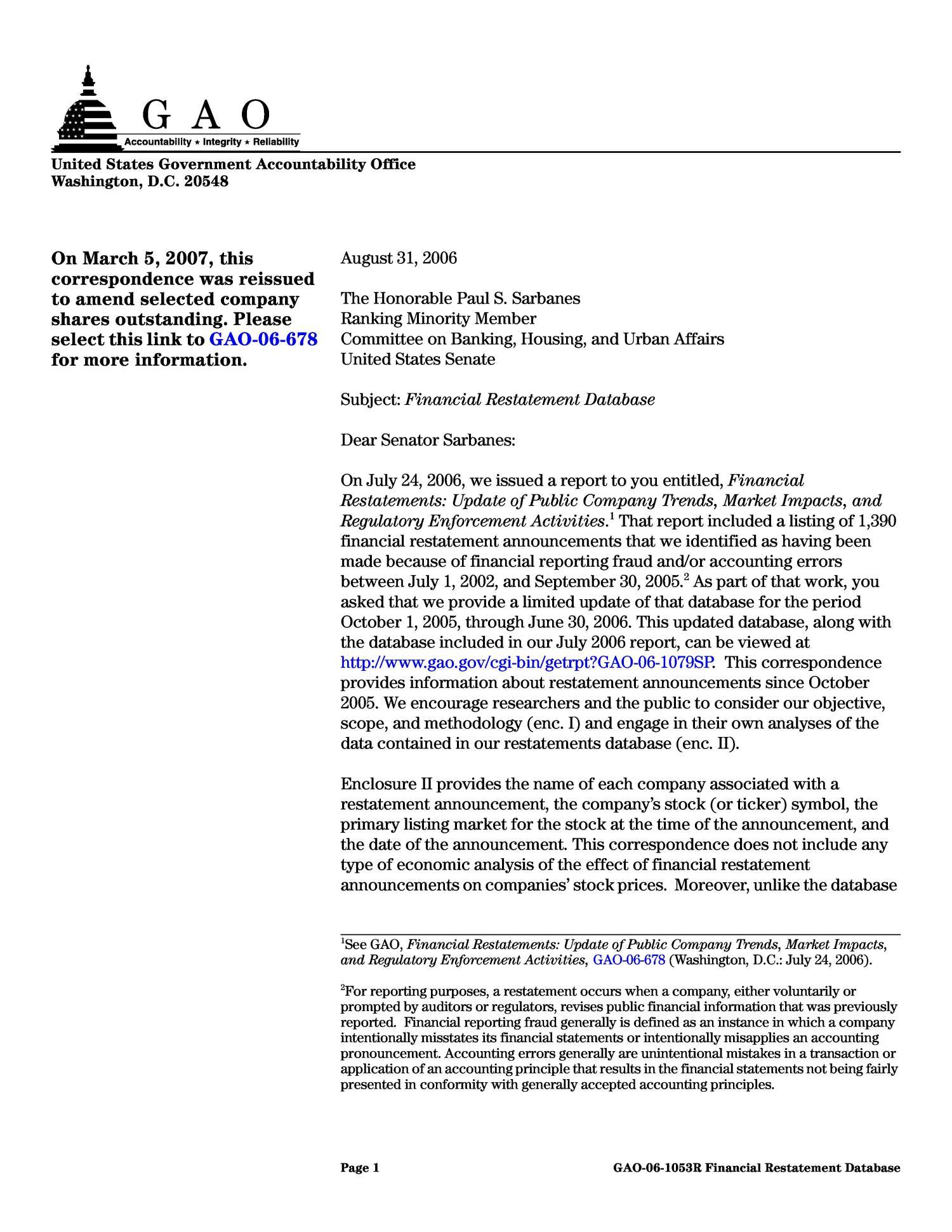 Financial Restatement Database Digital Library