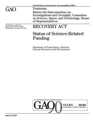 Primary view of object titled 'Recovery Act: Status of Science-Related Funding'.