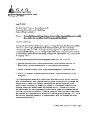 Primary view of Federally Chartered Corporation: Review of the Financial Statement Audit Reports for the Naval Sea Cadet Corps for 2000 and 1999