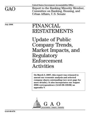Primary view of object titled 'Financial Restatements: Update of Public Company Trends, Market Impacts, and Regulatory Enforcement Activities'.
