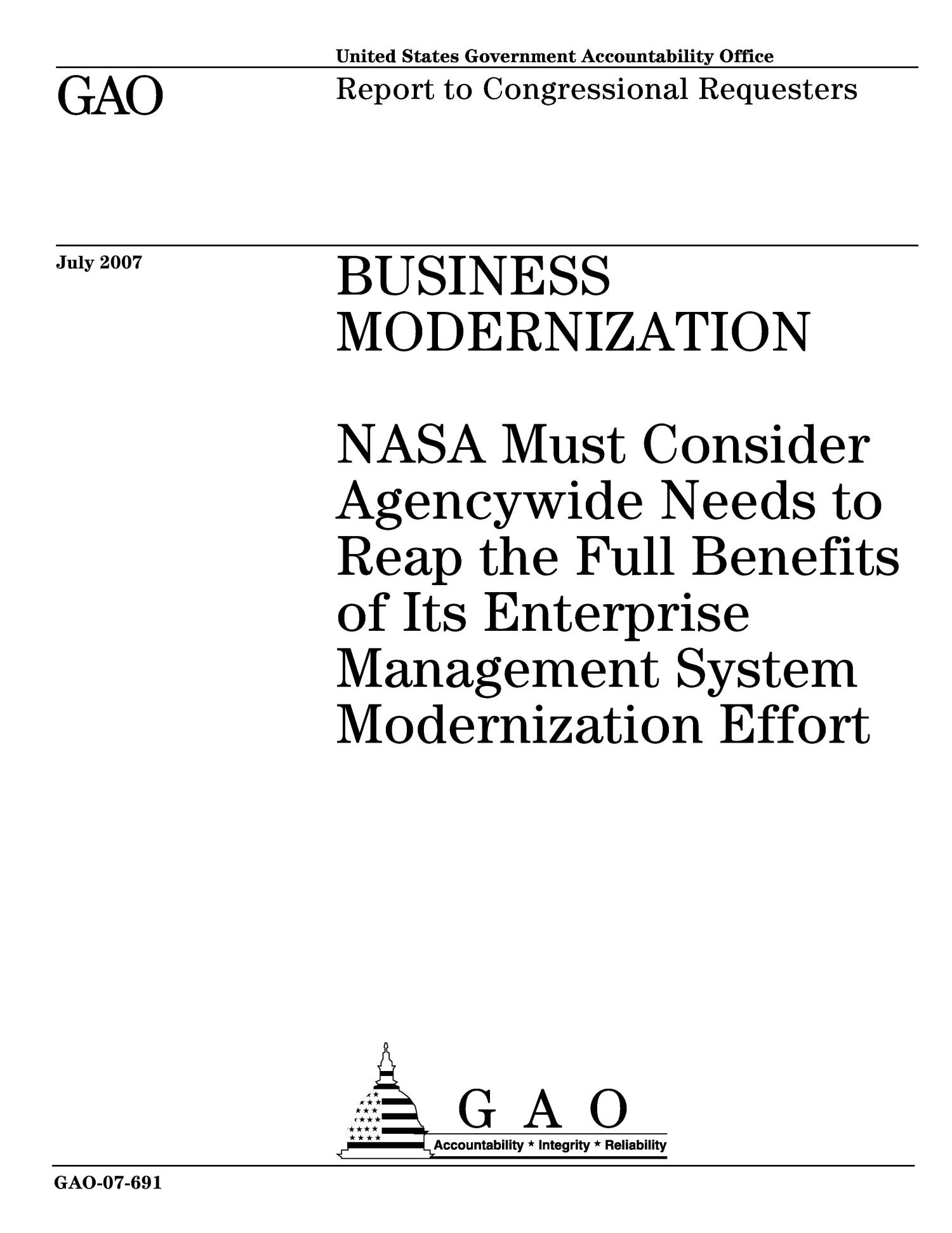 Business Modernization: NASA Must Consider Agencywide Needs to Reap the Full Benefits of Its Enterprise Management System Modernization Effort                                                                                                      [Sequence #]: 1 of 38