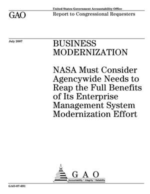 Primary view of object titled 'Business Modernization: NASA Must Consider Agencywide Needs to Reap the Full Benefits of Its Enterprise Management System Modernization Effort'.