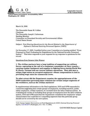 Primary view of object titled 'Post-Hearing Questions for the Record Related to the Department of Defense's National Security Personnel System (NSPS)'.
