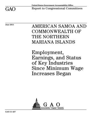 Primary view of object titled 'American Samoa and Commonwealth of the Northern Mariana Islands: Employment, Earnings, and Status of Key Industries Since Minimum Wage Increases Began'.