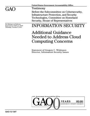 Primary view of object titled 'Information Security: Additional Guidance Needed to Address Cloud Computing Concerns'.