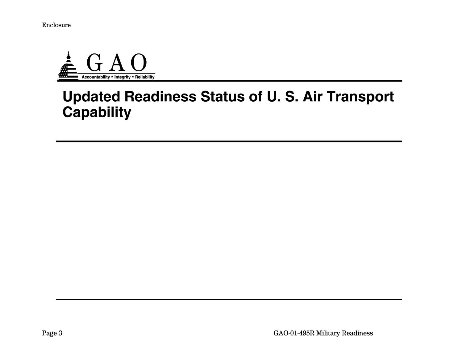 Military Readiness: Updated Readiness Status of U.S. Air Transport Capability                                                                                                      [Sequence #]: 3 of 19
