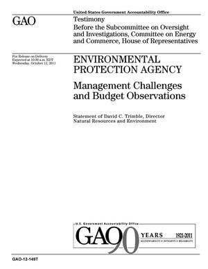 Primary view of object titled 'Environmental Protection Agency: Management Challenges and Budget Observations'.