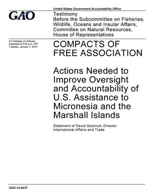 Primary view of object titled 'Compacts of Free Association: Actions Needed to Improve Oversight and Accountability of U.S. Assistance to Micronesia and the Marshall Islands'.
