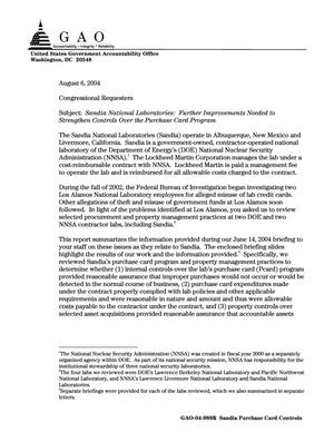 Primary view of object titled 'Sandia National Laboratories: Further Improvements Needed to Strengthen Controls Over the Purchase Card Program'.