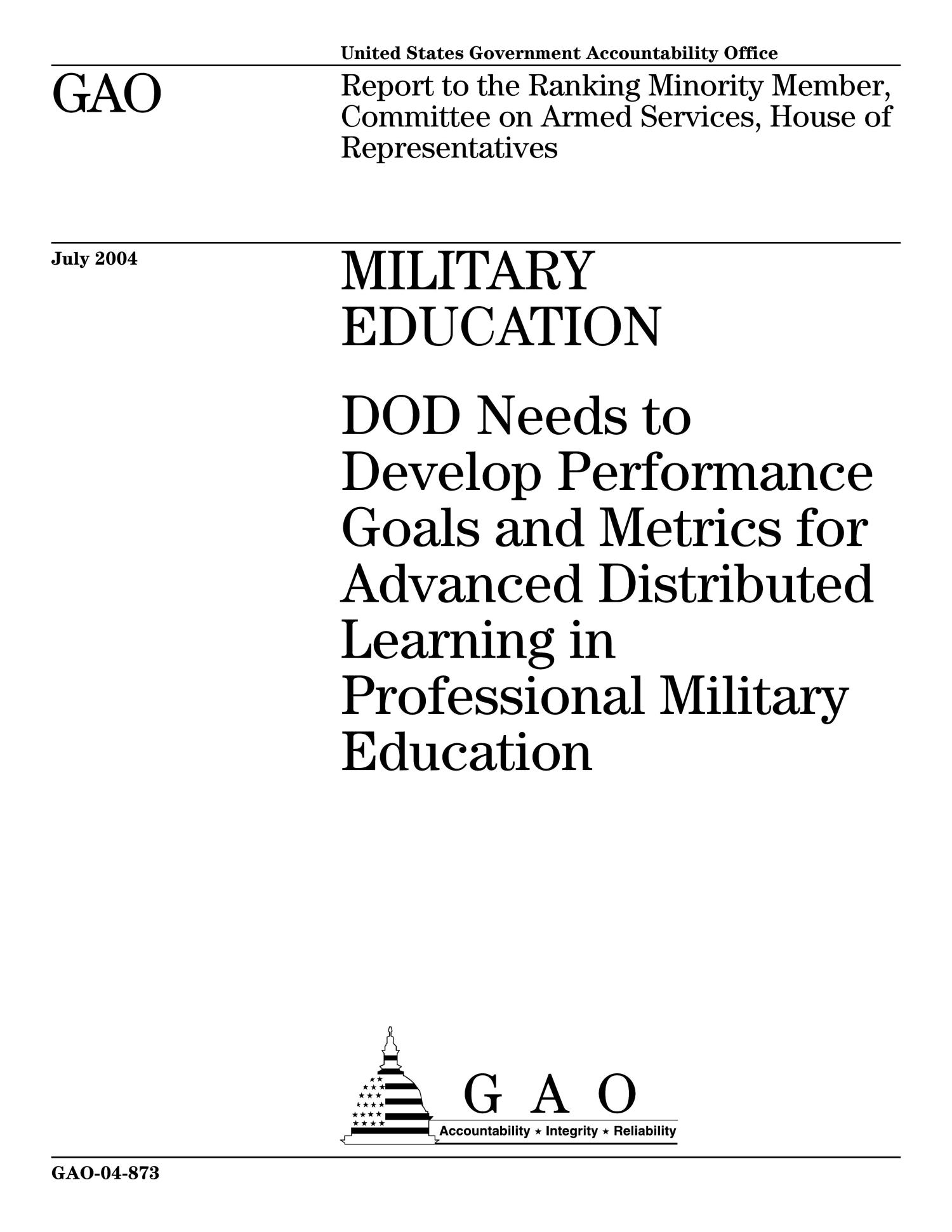 Military Education DOD Needs to Develop Performance Goals and