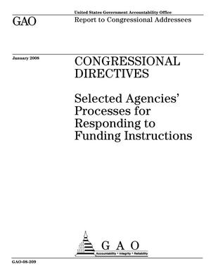 Primary view of object titled 'Congressional Directives: Selected Agencies' Processes for Responding to Funding Instructions'.