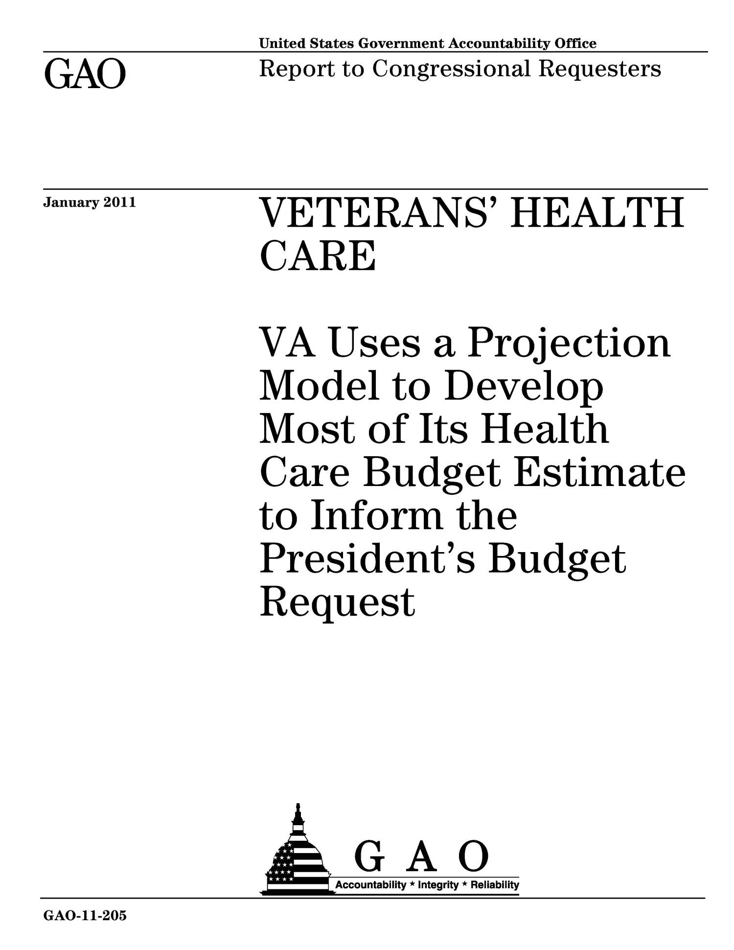 Veterans' Health Care: VA Uses a Projection Model to Develop Most of Its Health Care Budget Estimate to Inform the President's Budget Request                                                                                                      [Sequence #]: 1 of 36