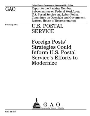 Primary view of object titled 'U.S. Postal Service: Foreign Posts' Strategies Could Inform U.S. Postal Service's Efforts to Modernize'.