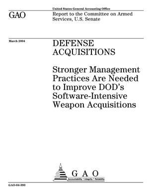 Primary view of object titled 'Defense Acquisitions: Stronger Management Practices Are Needed to Improve DOD's Software-Intensive Weapon Acquisitions'.