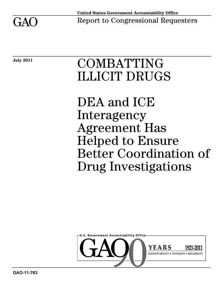 Combatting Illicit Drugs Dea And Ice Interagency Agreement Has