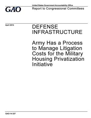 Primary view of object titled 'Defense Infrastructure: Army Has a Process to Manage Litigation Costs for the Military Housing Privatization Initiative'.