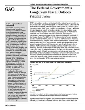 Primary view of object titled 'The Federal Government's Long-Term Fiscal Outlook: Fall 2012 Update'.