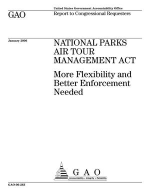 Primary view of object titled 'National Parks Air Tour Management Act: More Flexibility and Better Enforcement Needed'.