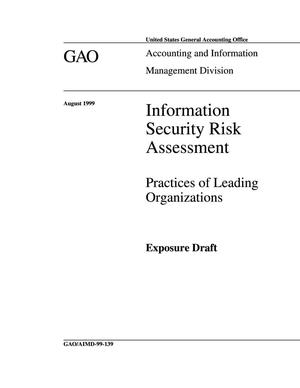 Primary view of object titled 'Information Security Risk Assessment: Practices of Leading Organizations (Exposure Draft)'.