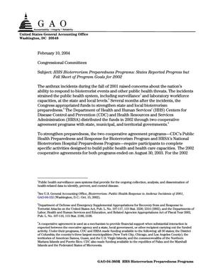 Primary view of object titled 'HHS Bioterrorism Preparedness Programs: States Reported Progress but Fell Short of Program Goals for 2002'.