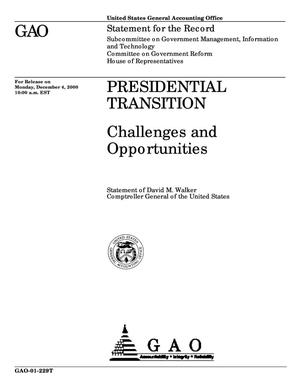 Primary view of object titled 'Presidential Transition: Opportunities and Challenges'.