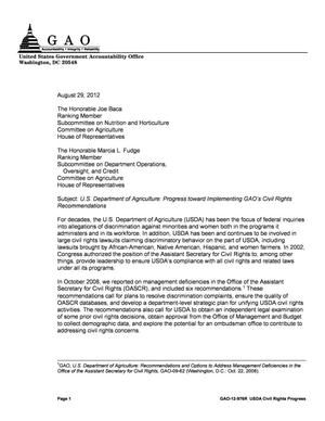 Primary view of object titled 'U.S. Department of Agriculture: Progress toward Implementing GAO's Civil Rights Recommendations'.
