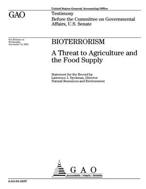 Primary view of object titled 'Bioterrorism: A Threat to Agriculture and the Food Supply'.