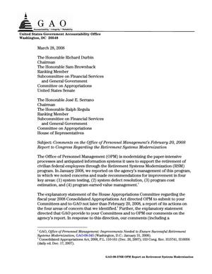 Primary view of object titled 'Comments on the Office of Personnel Management's February 20, 2008 Report to Congress Regarding the Retirement Systems Modernization'.