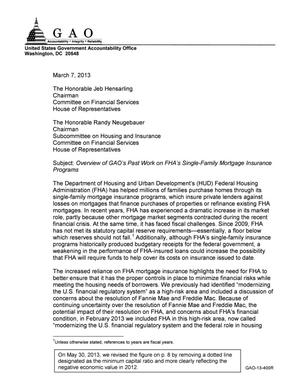 Primary view of object titled 'Overview of GAO's Past Work on FHA's Single-Family Mortgage Insurance Programs'.