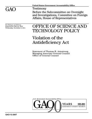 Primary view of object titled 'Office of Science and Technology Policy: Violation of the Antideficiency Act'.