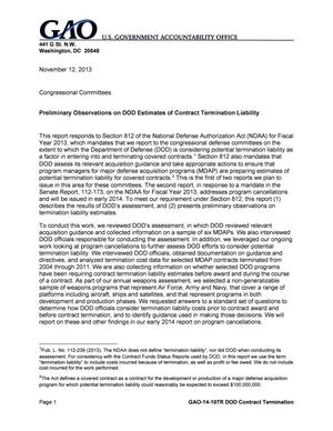 Primary view of object titled 'Preliminary Observations on DOD Estimates of Contract Termination Liability'.