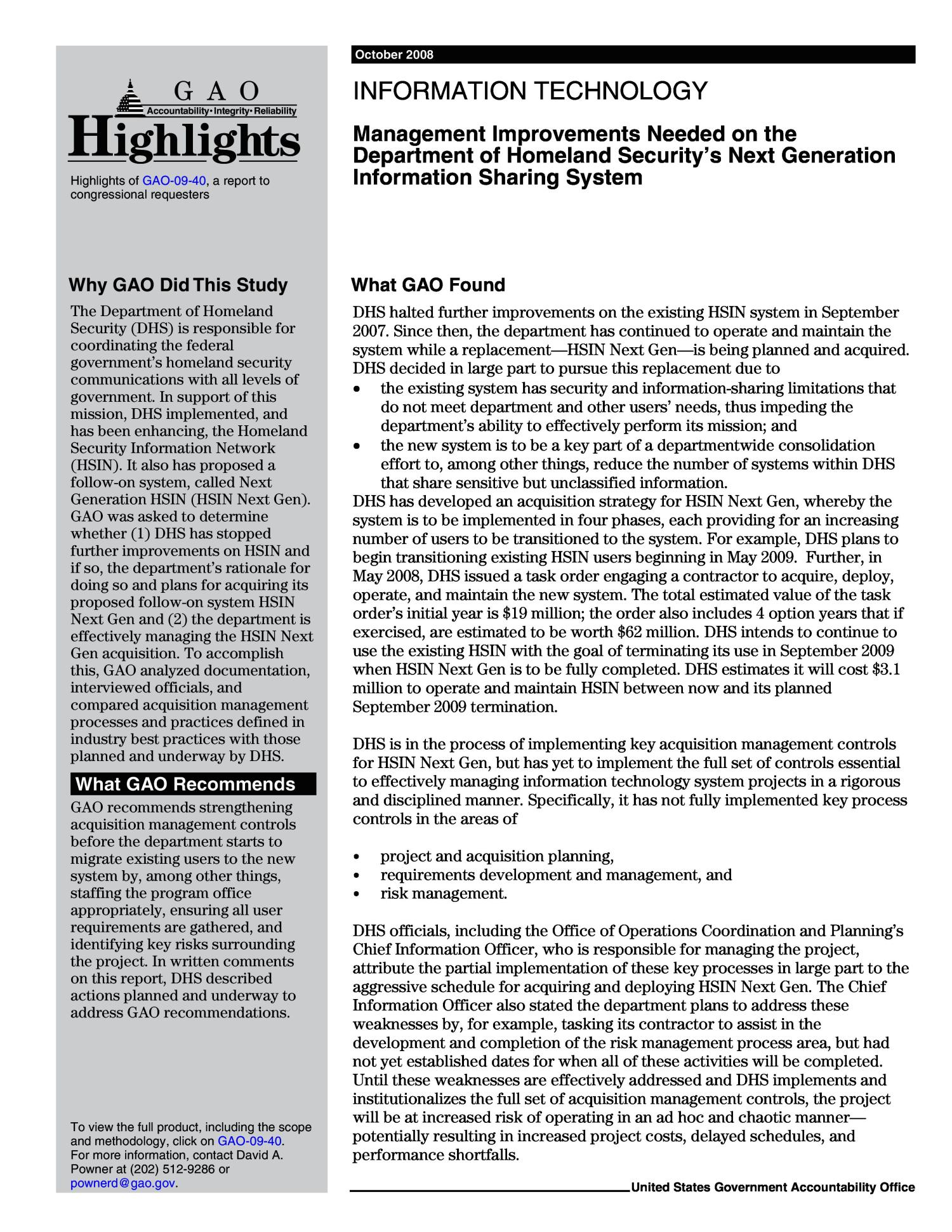 Information Technology: Management Improvements Needed on the Department of Homeland Security's Next Generation Information Sharing System                                                                                                      [Sequence #]: 2 of 58