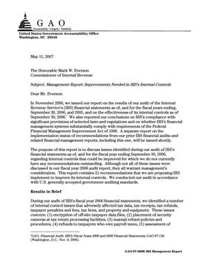 Primary view of object titled 'Management Report: Improvements Needed in IRS's Internal Controls'.