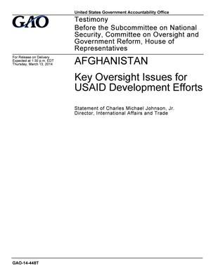 Primary view of object titled 'Afghanistan: Key Oversight Issues for USAID Development Efforts'.
